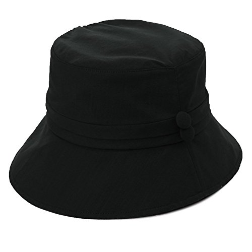SIGGI Baumwolle Damen Sonnenhüte Sonnen Shade mit Kinnriemen faltbarer SPF 50 + schwarz