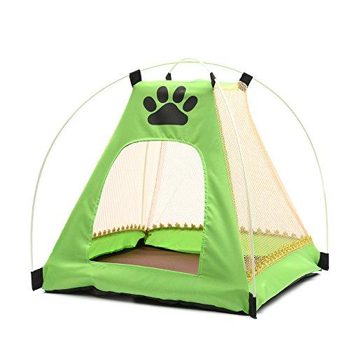 Aqi7 Abnehmbares Camping Atmungsaktives Mesh-Haustier-Zelt, Coole Sommerzwinger Mit Fußabdruck Muster, Haustier Hund Bett Moskitonetz Bett, Mit Kissen,Green