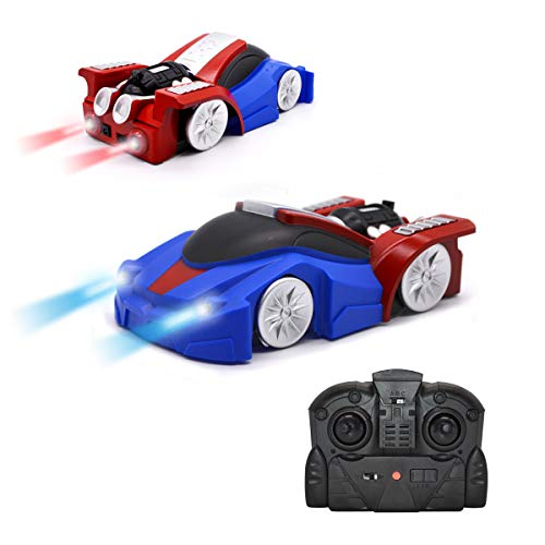QUN FENG Ferngesteuertes Auto Fahrzeug Spielzeug für Kinder Jungen Mädchen Dual-Mode-360 ° RC Car mit Fernbedienung und Stunt Kletterwand Funktion Kids Toys for Boys Girls(Blau)