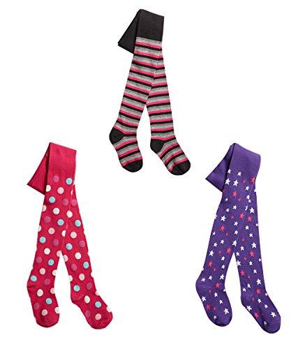 I.L.C.K Mädchen 3 Paar Strumpfhosen, Baumwolle, einfarbig Gr. -