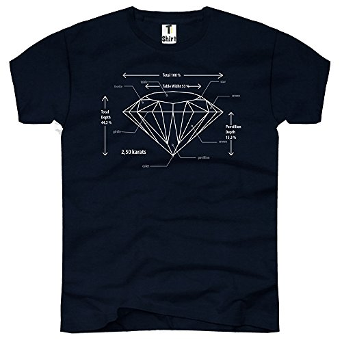 TEE-Shirt, Herren T-Shirt mit Aufdruck. Coole Motive. T-Shirt mit Diamant Druck. Navy
