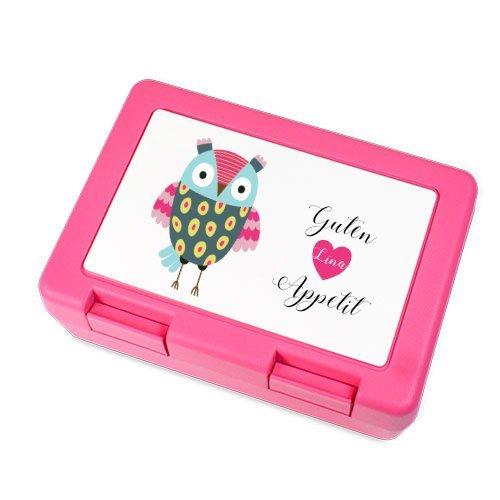 Brotdose mit Name und Eule für Mädchen in Pink I Kinder-Dose personalisiert I kids lunch boxes I mit eigenen Namen & Wunschmotiv I Lunchbox I Brotdose I Brotbüchse I Küche I Essen I für Mädchen