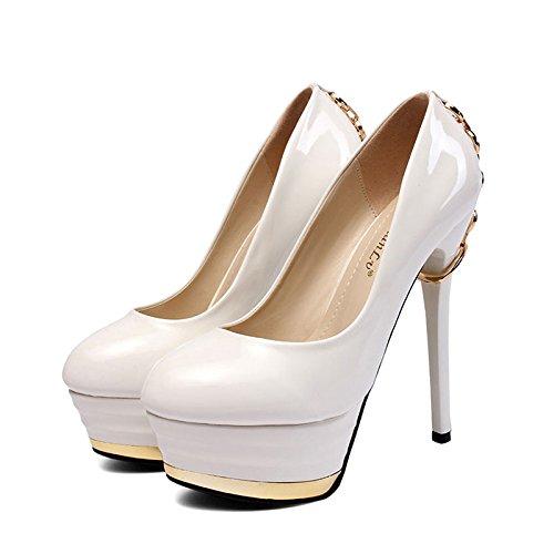 YMXJB Européens et américains clubs de chaîne métallique de haute pureté en hauts talons chaussures femme White