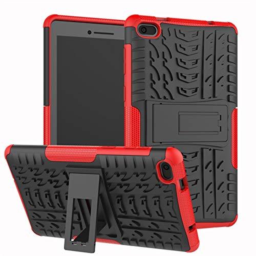 Für Lenovo Tab E7 Hülle, Colorful [Heavy Duty] Rugged Armor stoßfest Handy Schutzhülle Silikon Tasche Ständer Hülle Case mit Standfunktion für Lenovo Tab E7 (Rot)