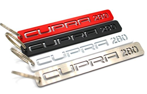 VmG-Store Cupra Schlüsselanhänger aus Edelstahl pulverbeschichtet (Weiß Matt, Cupra 280) Matt Cup