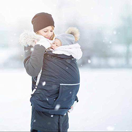 HOPPEDIZ Fleece-Cover 3in1 - wärmendes Tragecover für Tragehilfen mit Regenschutz - Anthrazit (Sturm Pullover)