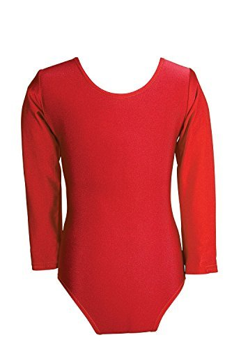 Child Girls Leotard Sleeved Stretchy Dance Gymnastics Ballet Sports Uniform Top (Red, 28 ( 7 - 8 Years))