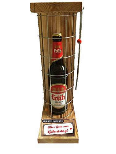 """""""Alles Gute zum Geburtstag"""" Die Eiserne Reserve mit einer Flasche Früh Kölsch 0,50L incl. Bügelsäge zum aufschneiden des Metallgitters – Das ausgefallenes witziges originelles"""