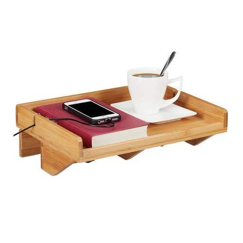 Relaxdays Bettablage, Mini-Nachttisch zum Anklemmen, aus Bambus, platzsparend, Kabelschlitze, Ablage BT 32,5x27cm, Natur, 5x27 cm
