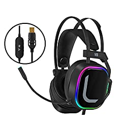 7.1 Surround Sound Gaming Headset, Headset E-sports Headset Wired USB Notebook Phone With Microphone Noise Reduction Microphone (Heavy Bass Vibration Edition) ( color : USB7.1 vibration version )