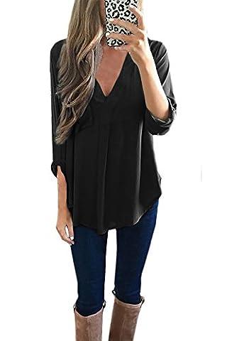 Yidarton Chemise Femme Longue à Manches Longues 3/4 Col V Mousseline Top Tunique Blouse Chemisier Shirt (M, Noir)
