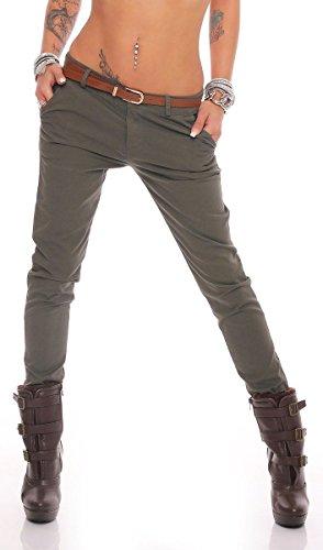 Fashion4Young 10777 Damen Skinny Chino Pant Hautenge Treggings Stretch-Stoff Damenhose mit Gürtel (S=36, Khaki)
