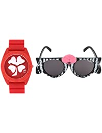 Fantasy World Red Watch And Black Sunglass Combo For Boys And Girls - B077TQC91W