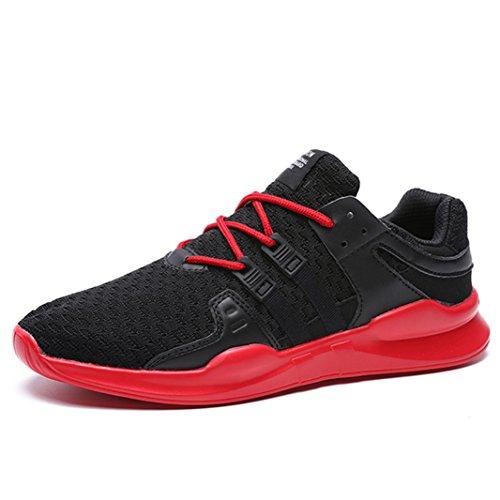 SITAILE Herren Sportschuhe Atmungsaktiv Gym Turnschuhe Leichtgewicht Laufschuhe Lace up Freizeitschuhe Trainer Outdoor Sneaker Shoes (43EU, Schwarz-Rot)