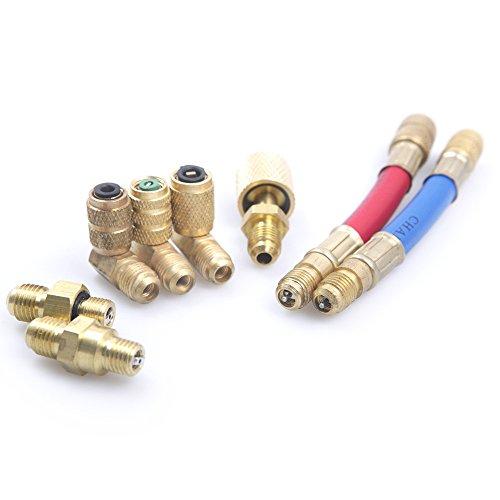 Auto A/C Klimaanlage Kühlung R134A R12Connector Adapter Schläuche Set Kit -
