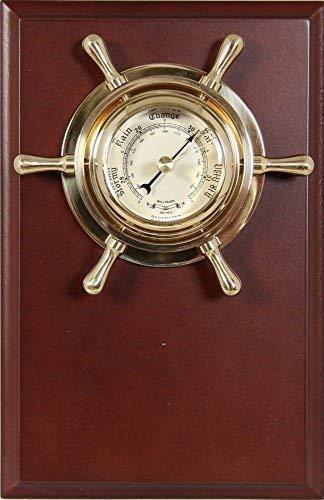 Barómetro en el Buey Timón sobre Pizarra de Madera, Latón Pulido 12CM