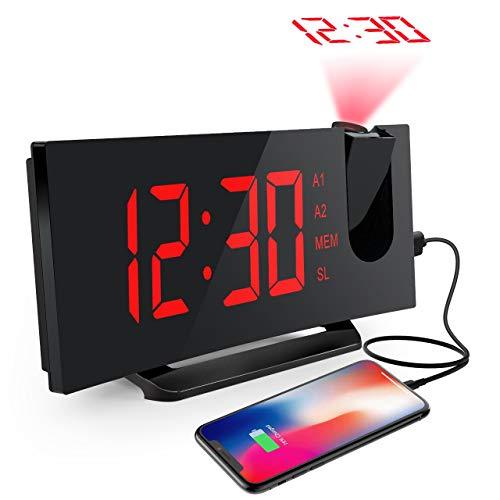 Projektionswecker, Mpow FM Radiowecker mit Projektion, LED Wecker Digital, Reisewecker, Tischuhr, Projektionsuhr, 5\'\' LED-Anzeige, Dual-Alarm, 6 Helligkeit, 4 Alarmton mit 3 Lautstärke, 9 \' Snooze