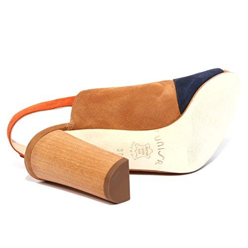 B1195 sandalo donna UNISA YUSE scarpa beige/blu/arancione shoe woman beige/arancione/blu