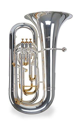 Lechgold BT-490 Eb-Tuba (für Einsteiger und Fortgeschrittene, Edelstahl-Ventile, aus hochwertigem Messing, Züge aus Neusilber, inkl. Koffer, Mundstück, Reinigungstuch, Ventilöl) klarlackiert
