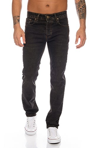 Lorenzo Loren Herren Jeans Hose Denim Jeans Used-Look Regular-Fit [LL326 - Schwarz - W30 L32]