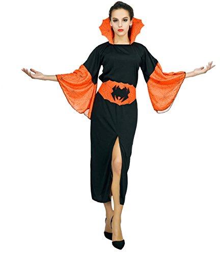 (SEA HARE Frauen Halloween Hexe Orange Kostüm (S))