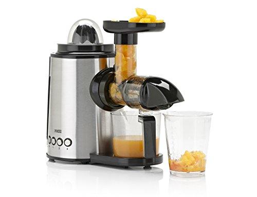 Princess 202042 Juice Center 01.202042.01.001-Juice Alta extracción de Jugo-Bajo Nivel sonoro, 150 W, 0.4 litros, 2 Velocidades, Acero Inoxidable
