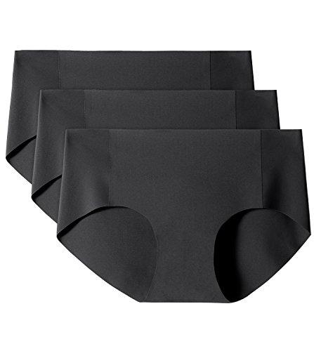 LAPASA Donna 3 Pack Slip Bikini Invisibile Seamless Ultimate Comfort L10 (S(Vita61-64 cm), Nerox3)