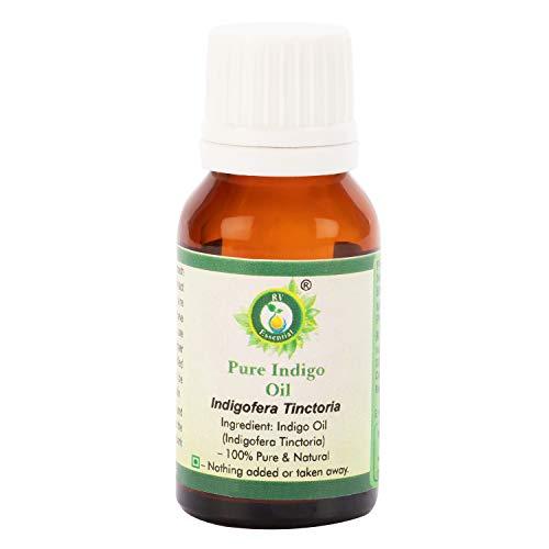 R V Essential Reines Indigo Öl 15ml (0.507 Unzen) - Indigofera Tinctoria (100% rein und natürlich) Pure Indigo Oil
