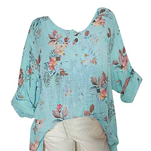 TOPSELD T Shirt Damen, Frauen O-Ansatz Drucken DREI Viertel Sleeve Leicht Tops Plus Size Hemd ()
