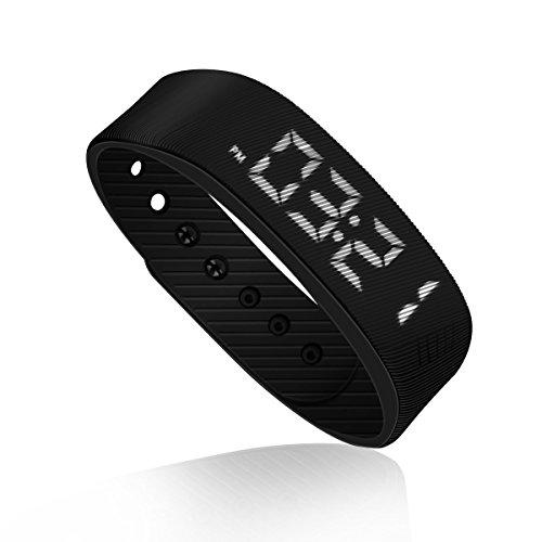 Schrittzähler Pedometer Einfach bedienung Fitness Armband Fitnessarmband mit Uhr Kalorienzähler Schrittmesser Ohne Bluetooth Aktivität tracker Kalorien Zähler Messer Test Ohne APP Zum Joggen, Schwarz. - Fitness-bluetooth-uhr