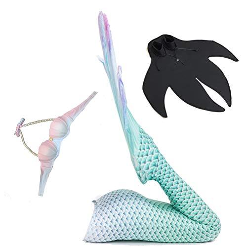 Jolie Damen Mermaid Tail Schwimmen Kleid 3 Stck Bikini Meerjungfrauen Cosplay Badebekleidung mit Monoflosse,Green,M