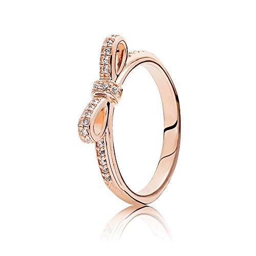 Pandora Women's Sparkling Bow Ring, Rose, Size 56 Jewelry 180906Cz-56
