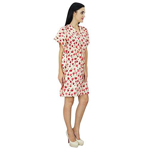 Bimba femmes Vêtements Coton Robe caftan Short Beach Cover Up Tunique Imprimé Caftan Rouge