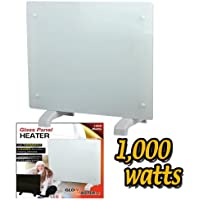 Electric Panel Heater Radiator Glass White Portable Free Standing Wall Mounted (1000w)