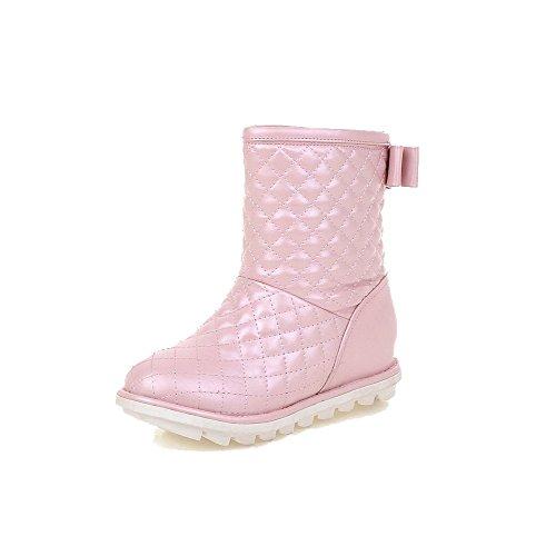 AgooLar Damen Ziehen auf Niedriger Absatz Niedrig-Spitze Schneestiefel, Pink, 37
