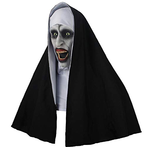 Forart Die Nonne Horror Maske Cosplay Scary Latex Masken mit Kopftuch Full Face Helm Halloween Party Requisiten für Frauen
