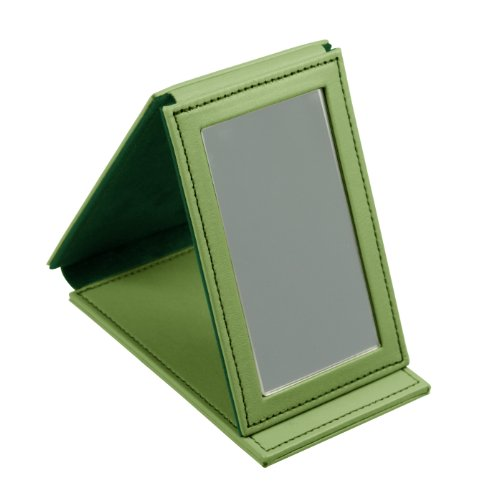 Lucrin Trousse à Maquillage Miroir Rectangulaire de Poche Cuir Vachette Lisse 11 cm Vert (Vert Clair) PM1095_VCLS_VTC