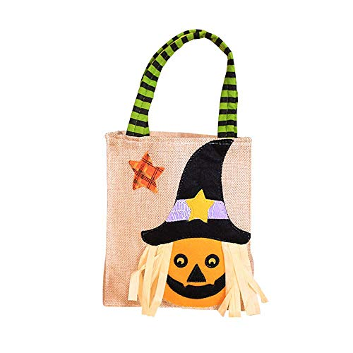 Aolvo Halloween Goodie Taschen, 29 x 16 cm Halloween Trick or Treat Tragetaschen Leinen 3D Halloween Thema Staubbeutel für Halloween Party Event kürbis