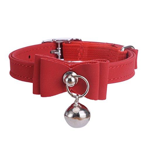 chien-collier-flocage-avec-noeud-papillon-et-grelot-collier-pour-les-chiens-petits-rouge