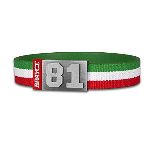BRAYCE® Trikot am Handgelenk® mit Deiner Nummer 00-99 I Armband grün, weiß & rot