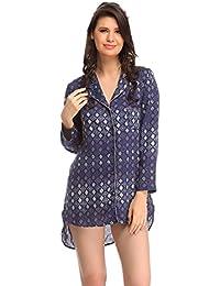 Clovia Women Long Shirt In Blue