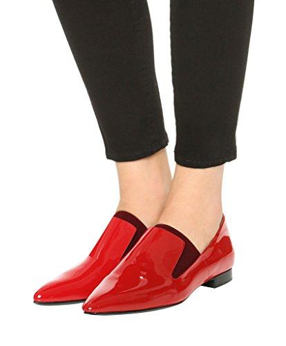 Guoar Damen Flache Große Größe Spitzschuh Lack Glitzer Einfach Stil Ballerinas Rot