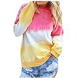 Lazzboy Farbverlauf T-Shirt Tunika Frauen Kontrastfarbe Shirt Langarm Pullover Sweatshirt Pocket Tops Damen Locker Rundhals Beiläufig Herbst Winter(Rosa,L)