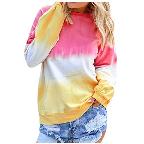 LILIGOD Frauen Casual Pullover Langarm Sweatshirt Kontrastfarbe Shirt Tops Mode O-Ausschnitt Bluse Lässig Lose Lange Hülsen Oberteile Herbst und Winter T-Shirt Sweatshirts