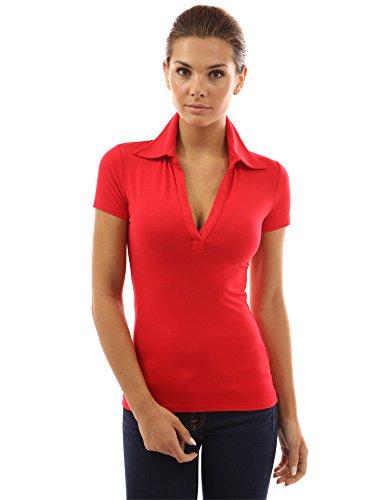 PattyBoutik Damen Polohemd mit V-Ausschnitt und kurzen Armen Rot