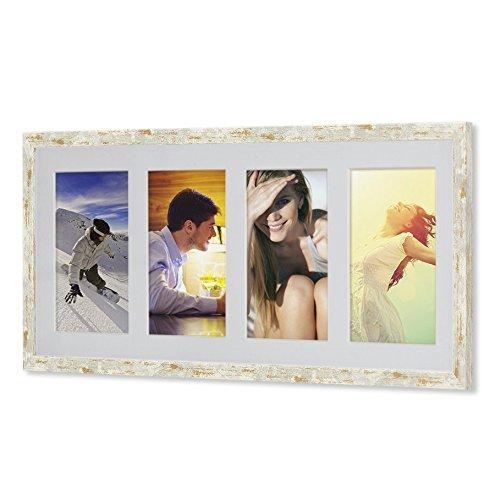 Holz - G41 Rahmen für Bilder 10x15 13x18 15x20 mit weißem Passepartout Rahmen zum Aufhängen Farbe Golden-Elfenbein - Format 13x18