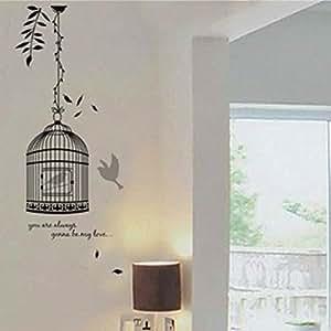 BestOfferBuy - Sticker Mural Illustré par l'Image d'un Oiseau En Cage (Décalcomanie) JM8218