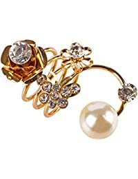 Rose Flower Ring For Women – Gold Plated Adjustable Fancy Party Wear Ring For Girls By FreshVibes