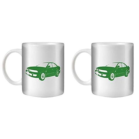 STUFF4 Tea/Coffee Mug/Cup 350ml/2 Pack Green/Galant VR4/White Ceramic/ST10