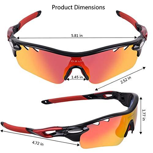 Polarisierte Sonnenbrille mit UV-Schutz Durable Tr90 polarisierte Sport-Sonnenbrille mit 5pcs austauschbaren Linsen für Männer Frauen Radfahren Baseball Laufen Superleichtes Rahmen-Fischen, das Golf f